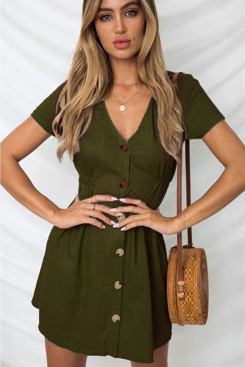 Army Green V Neck Buttons Up Short Sleeve Casual Dress In 2021 Casual Dress White V Necks Army Green Shorts [ 1202 x 802 Pixel ]