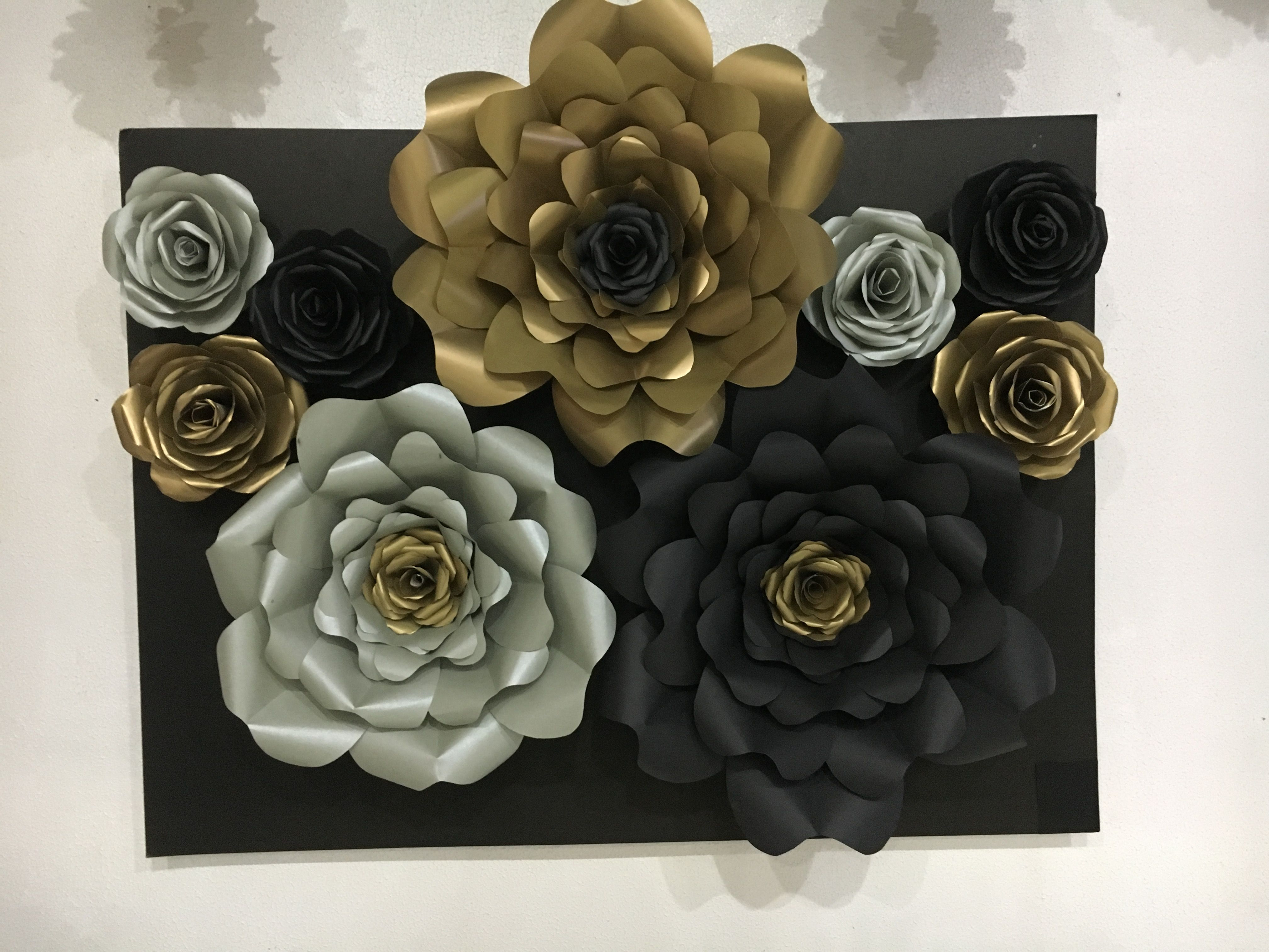 Black Gold And Silver Paper Flower Vintage Gellediy