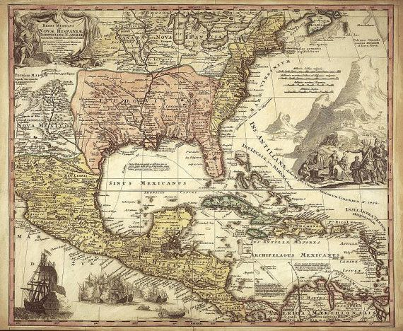 Mexico antique world maps old world map illustration digital image mexico antique world maps old world map by mapsandposters on etsy 999 gumiabroncs Images