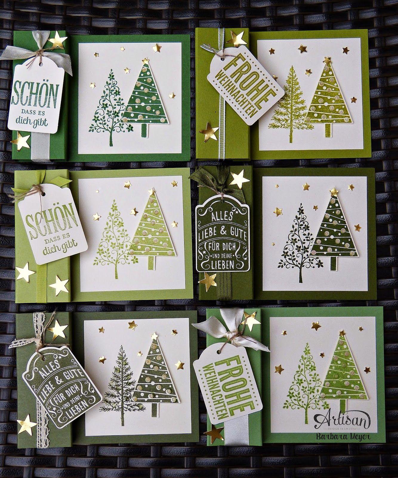 kleine Teelichterkarte mit Tannenbäumen – Weihnachten