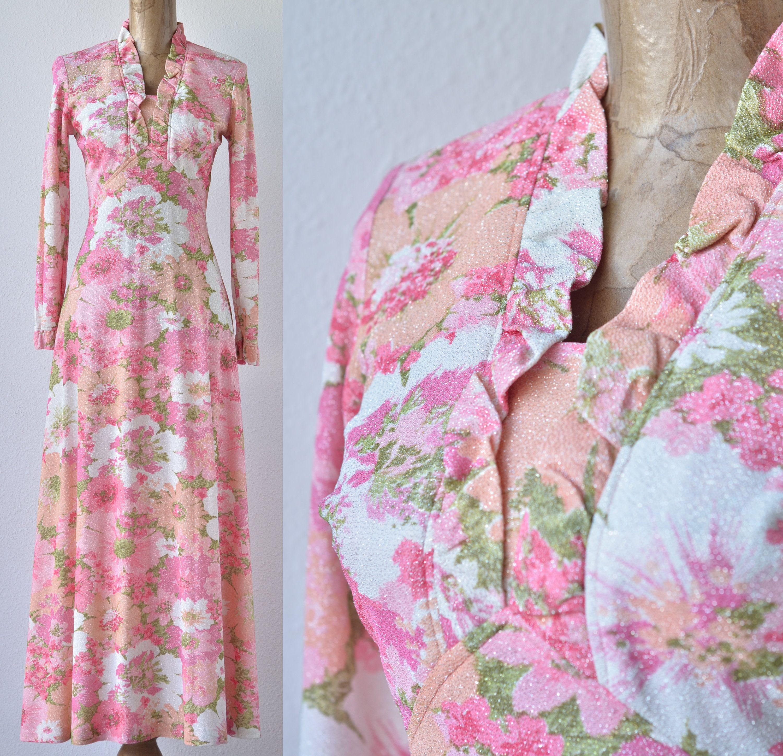 0d2d07cebf85 60s Vintage Metallic Pink Floral Maxi Dress, Silver Jersey Lurex ...