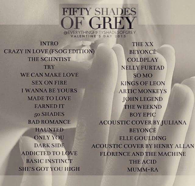 Fifty Shades Of Grey Fifty Shades Of Grey Soundtrack Songs Fifty Shades Series