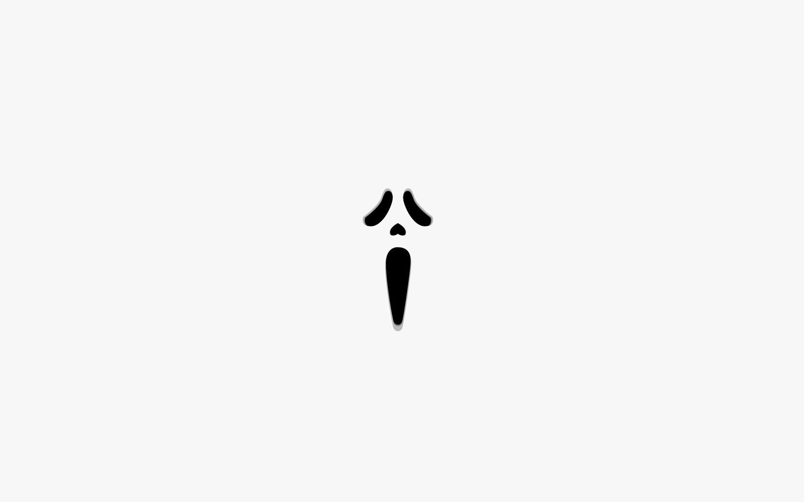 This Scream Mask White Screen Wallpaper Is Suitable For Use