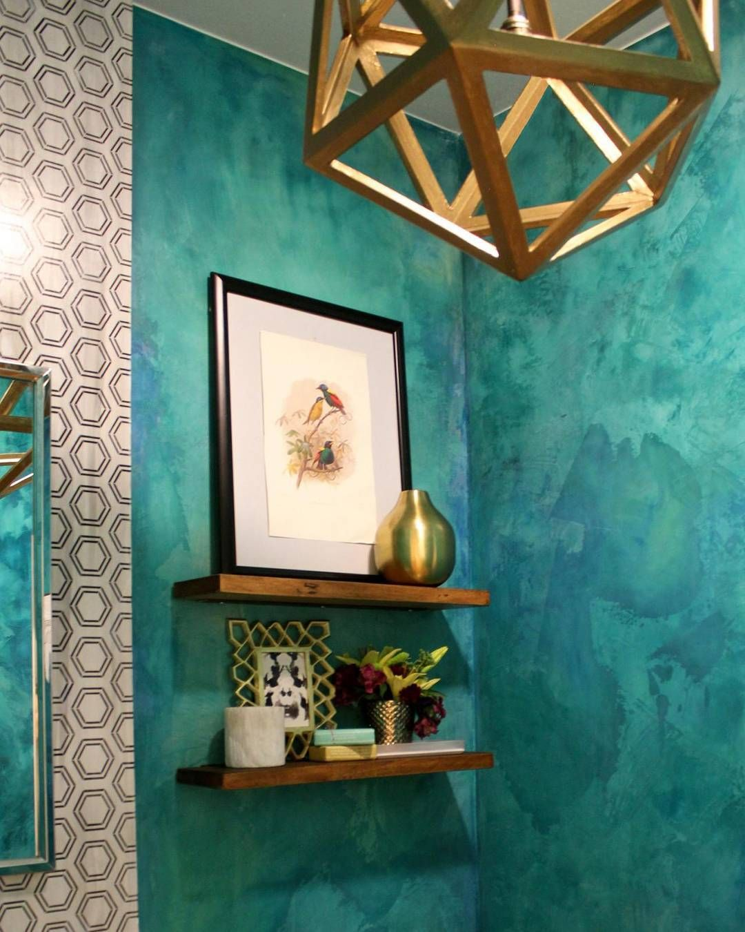 Using Bold Colors In The Bathroom: Teal Powder Room. Love A Bold Color In A Small Bath. -- #teal #powderroom #bathdesign