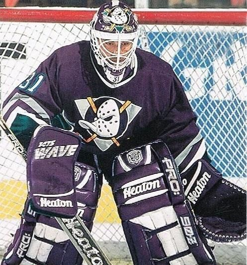 Guy Hebert Mighty Ducks Of Anaheim Road Uniform 1993 1994 Anaheim