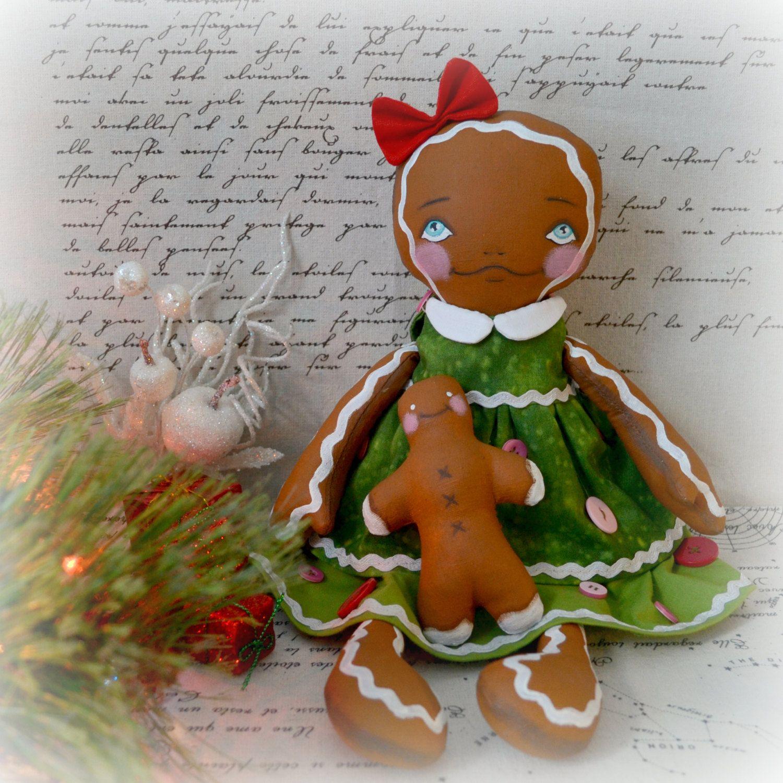 """Gingerbread girl in green - ooak 14,6"""" art doll"""