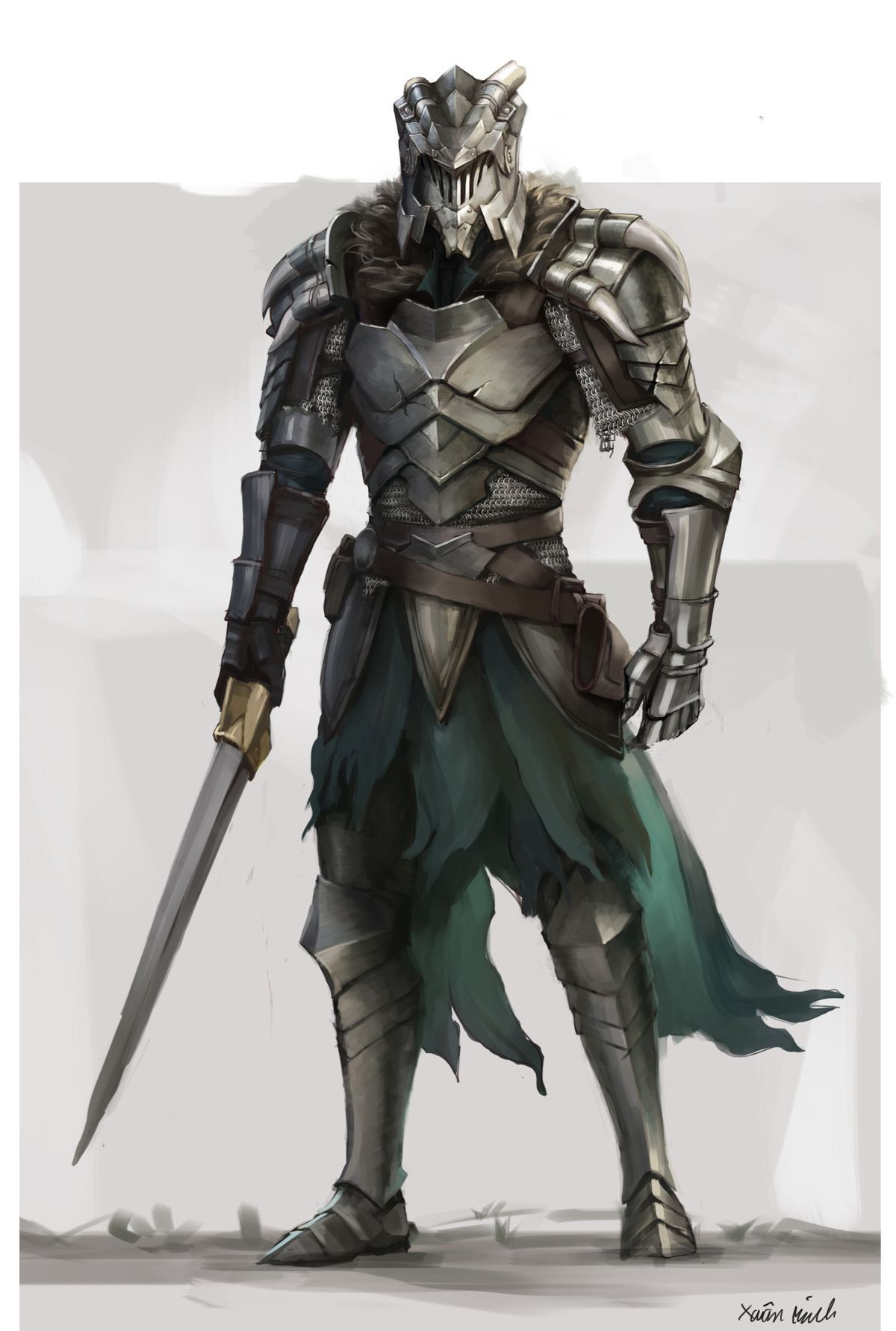 Knight ready for battle with sword in hand while having a ...