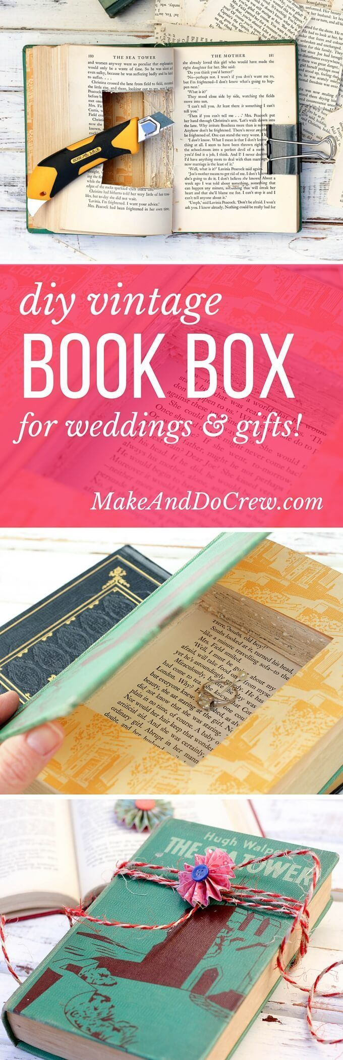 DIY Gift Box Made From a Vintage Book  Vintage books Keepsakes