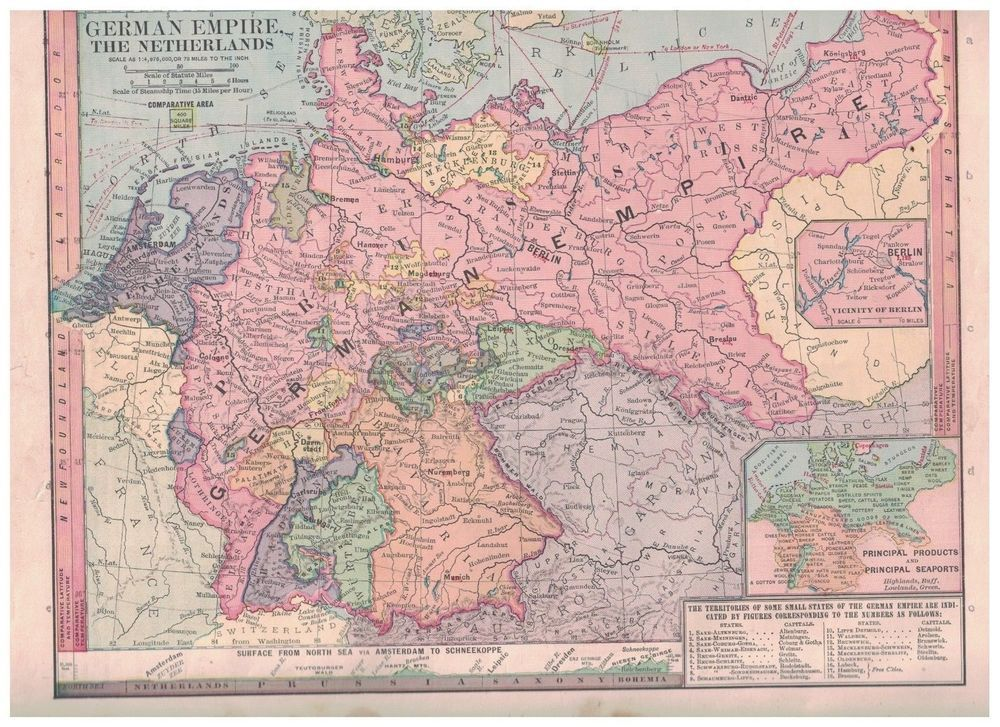1885 Map of German Empire and The Netherlands Nice Colors