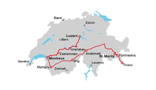8 days to Lucerne Montreux St Moritz on the GoldenPass Line and