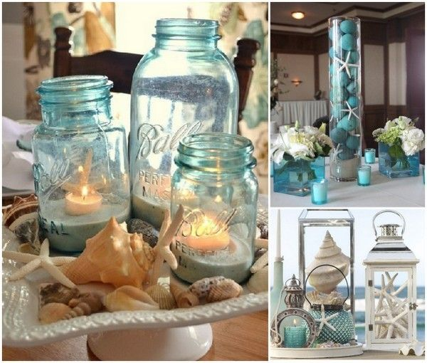 Starfish theme beach wedding blue centerpiece ideas
