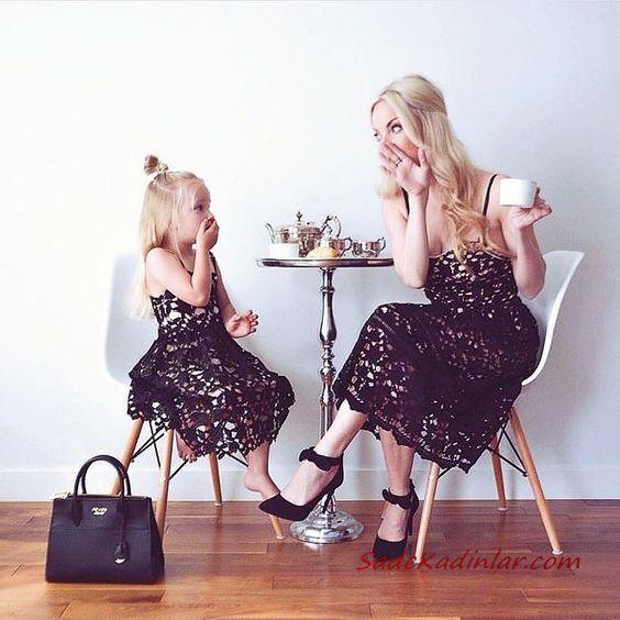 2020 Anne Kız Elbise ve Kıyafet Kombinleri Siyah Midi İp Askılı Dantel Elbise | SadeKadınlar, Kıyafet Kombinleri #moda #fashion #fashionblogger #damenmode #mode #damenoutfits #outfits #kombin #annekız #annekızelbiseleri #annekızkıyafetleri #annebebekkombin #kombinleri #kombinönerileri #outfitsoftheday #girl #kıyafetkombinleri #şıkkombinler