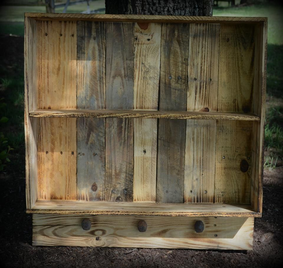 Recycled Pallet Wall Shelf With Knobs Collection
