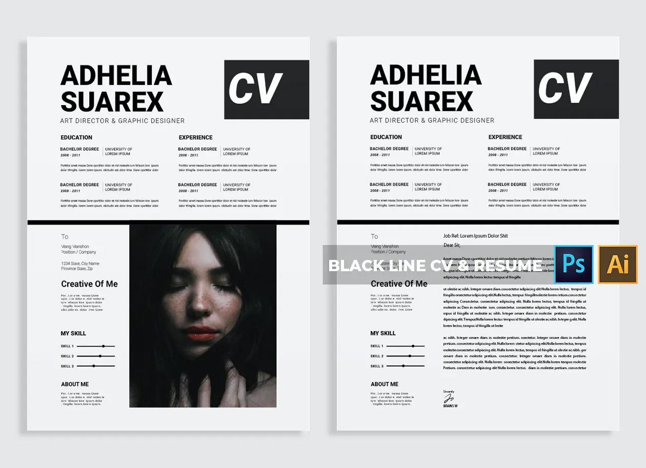 Creative CV & Resume Template PSD, AI in 2020 Resume
