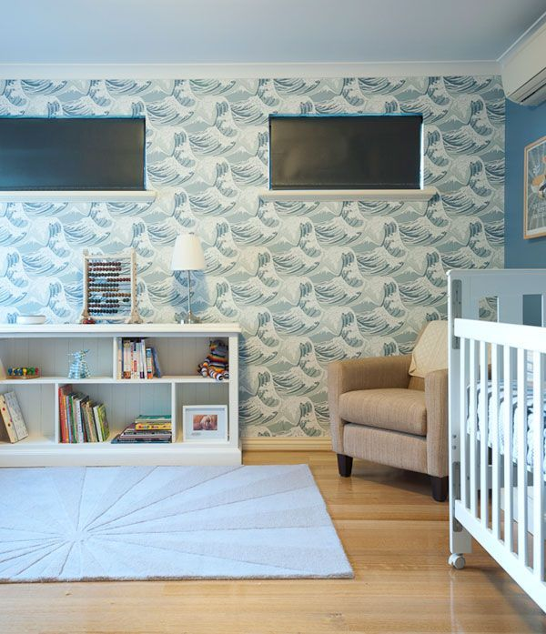 Boys nursery with feature wave wallpaper Baby room