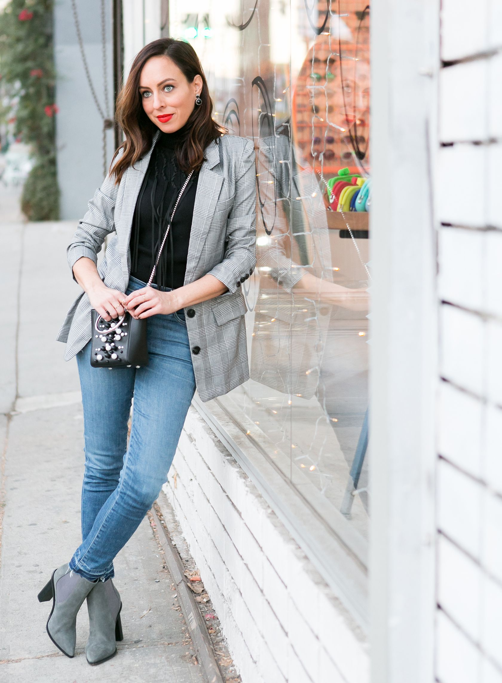 474b03320e Sydne Style shows how to wear the plaid blazer trend in shein checked  jacket  turtleneck  plaid  blazer  jeans  casualoutfits  booties  black   gray