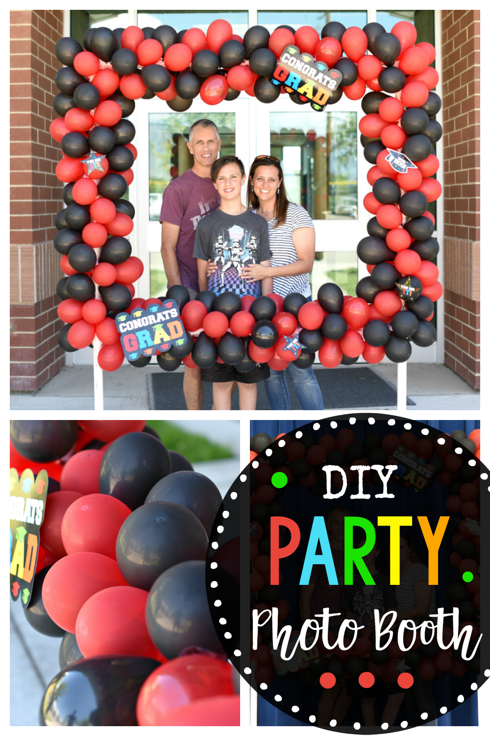 DIY Party Photo Booth with Balloons DIY Party Photo Booth-This balloon photo booth is perfect for any party or special occasion! Graduation, birthdays, weddings or any fun event. Create this photo booth with these step by step instructions and cover it with balloons for the best photo booth ever!
