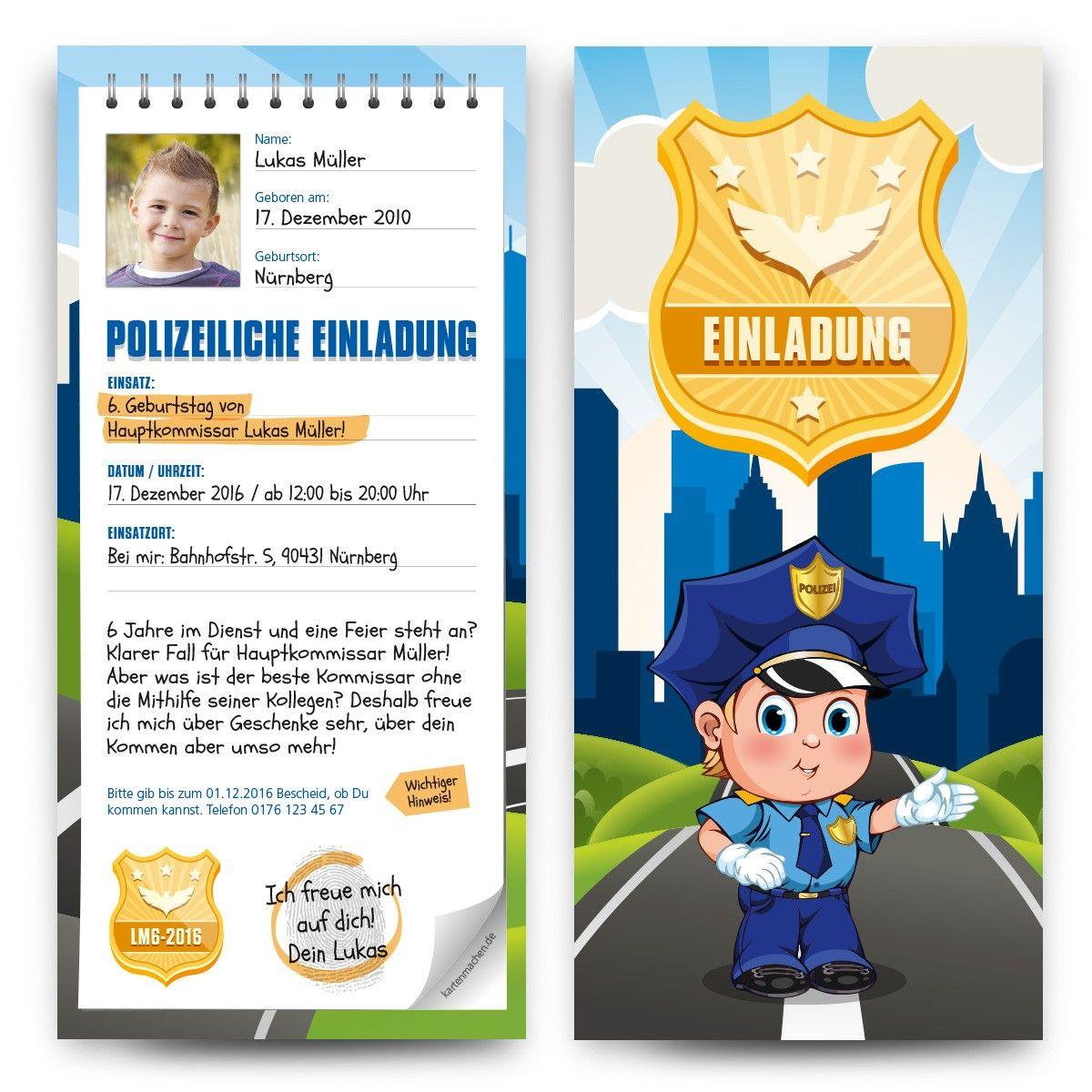 einladungskarten zum kindergeburtstag als polizei notizblock, Einladung