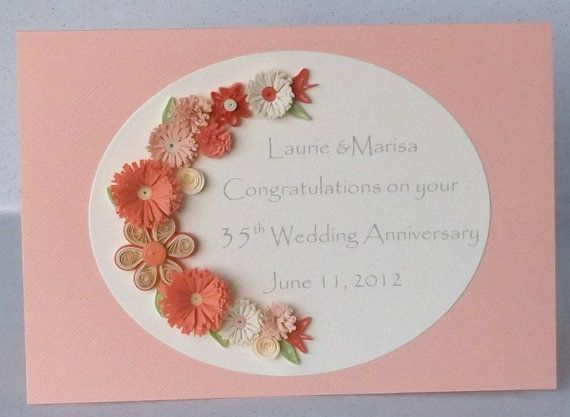 35th Anniversary Card Paper Quilling Coral Wedding Etsy Paper Quilling Quilling Cards Anniversary Cards