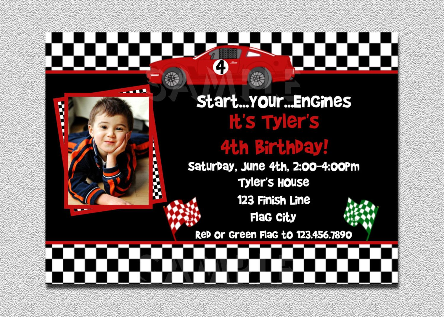 Race Car Birthday Invitation Race Car by TheTrendyButterfly ...