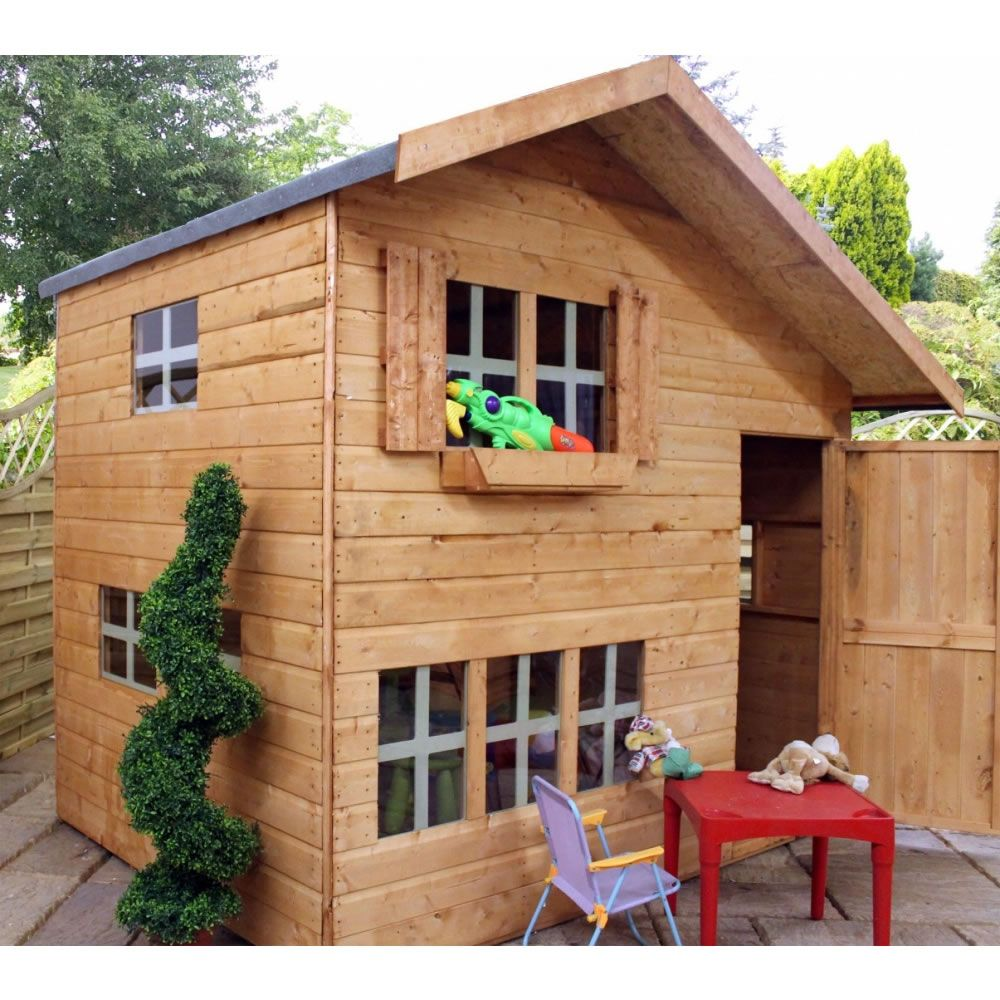 mercia 8ft x 6ft double storey playhouse play tree houses
