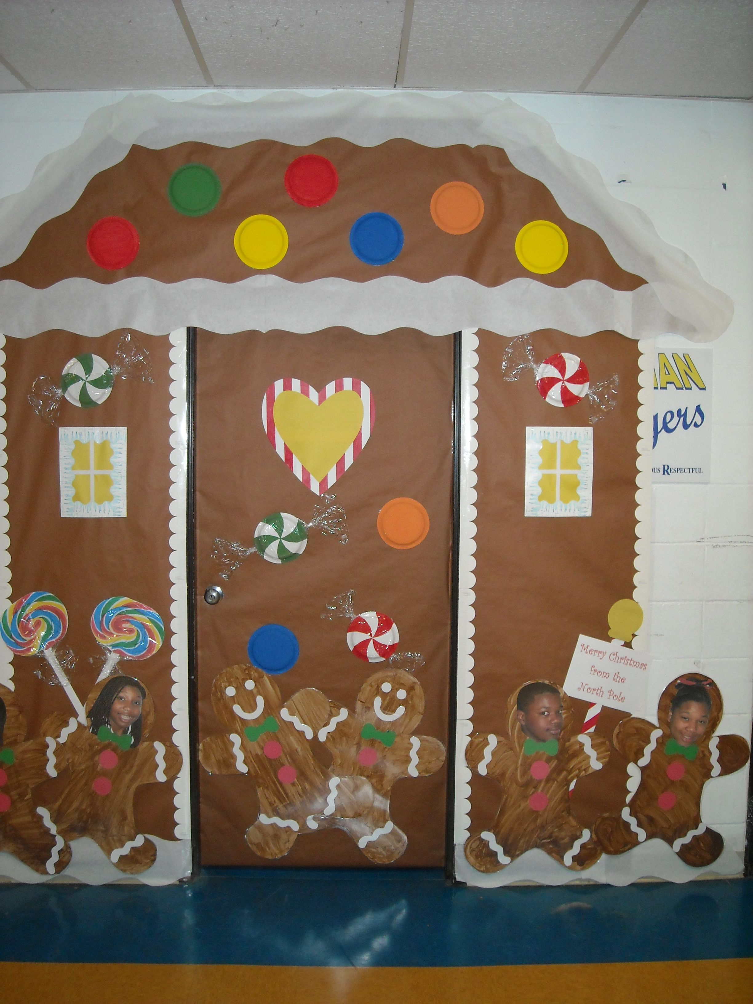 Gingerbread House Christmas Classroom Door Cover Made