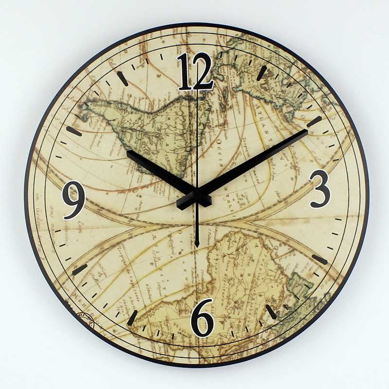 World map large decorative wall clock modern design absolutely ...
