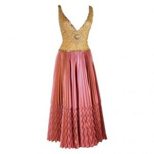 vintage evening gowns | clothing dresses gowns reem acra pleated pink vintage evening gown ...
