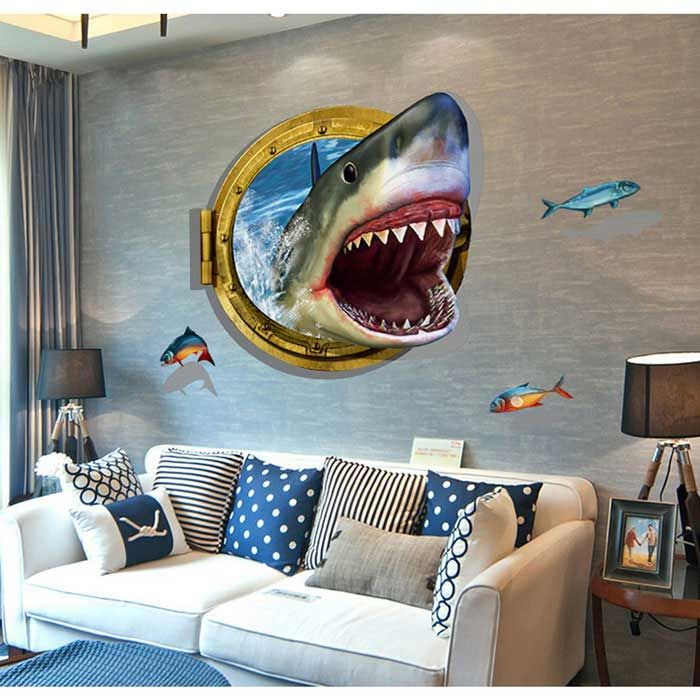 removable stylish 3d shark decorative wall stickers for on wall stickers for living room id=58389