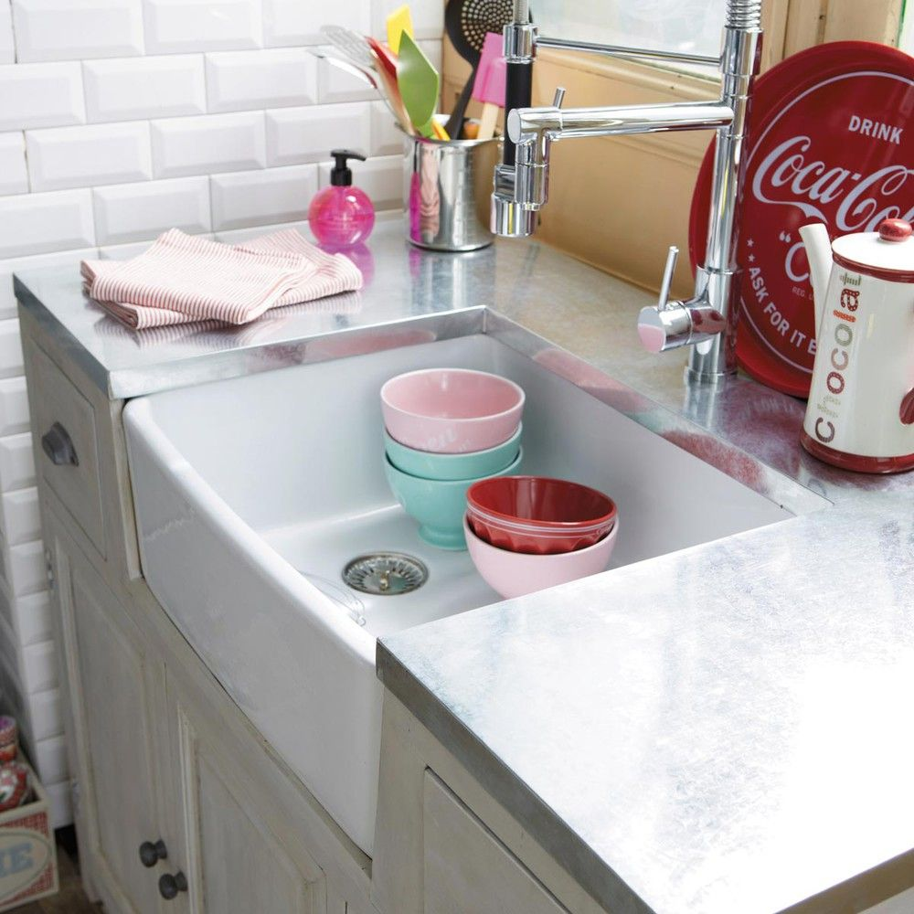 Meuble Bas De Cuisine Zinc Avec évier En Bois Dacacia Gris - Maison du monde meuble de cuisine pour idees de deco de cuisine