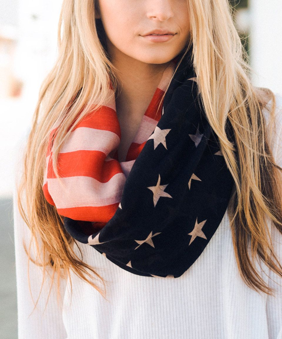 Look at this #zulilyfind! Leto Collection Black & Red American Flag Infinity Scarf by Leto Collection #zulilyfinds