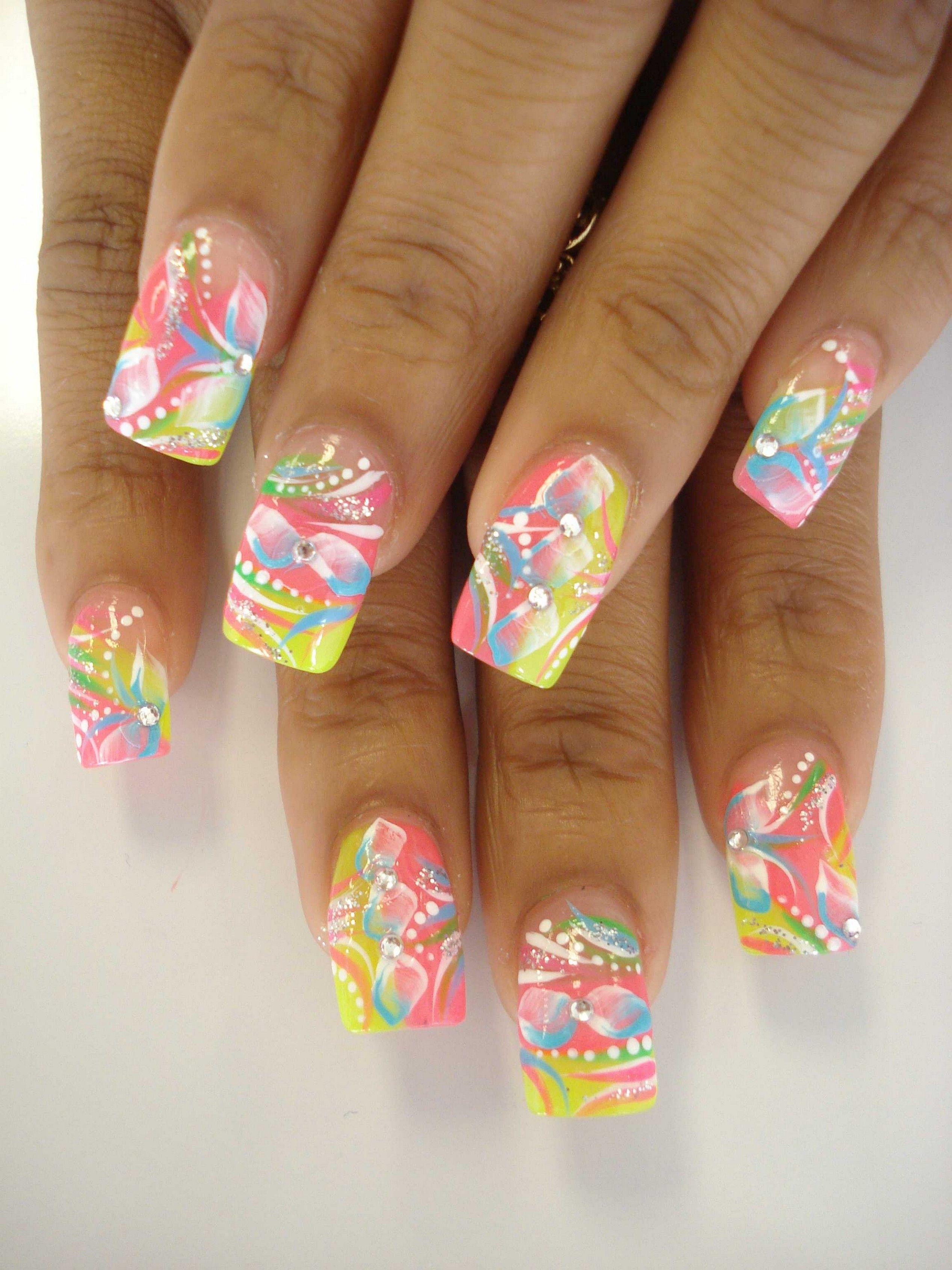 Summer Nail Tip Designs Fake Nail Designs Tips | nails | Pinterest ...