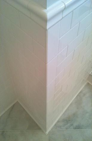 Use A Special Tool Called The Miter Miser To Miter The Ends At The Corners There Are Also Other Ways I Just Find This Tool Si Tile Bathroom Subway Tile Tiles
