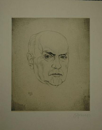 Frank, Sepp (1889-1969): Portrait. Heinrich Mann? Kopffigur. In der Platte monogrammiert sowie rechts handschrftlich signiert Signatur in Bleistift.