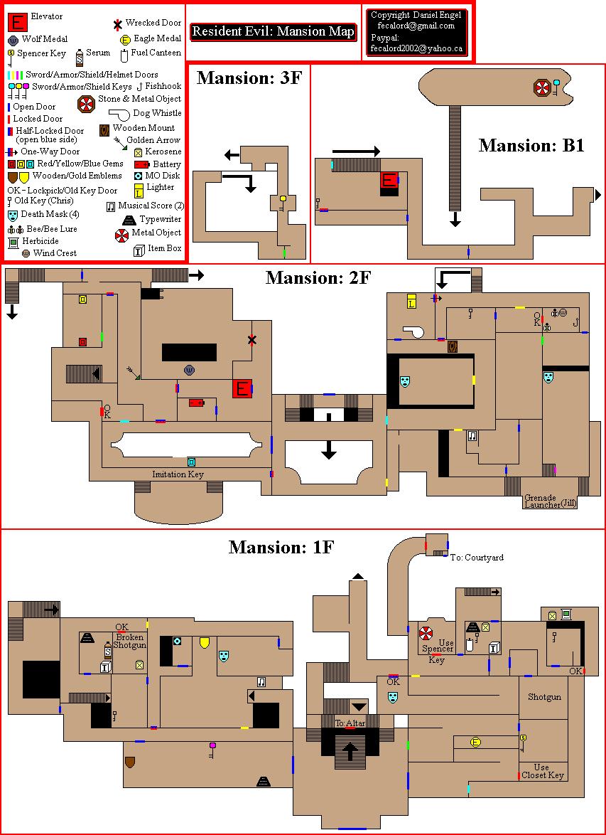 Resident Evil Mansion Map for GameCube by DEngel - GameFAQs