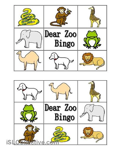 zoo worksheets | ... Zoo Animal Bingo worksheet - iSLCollective ...