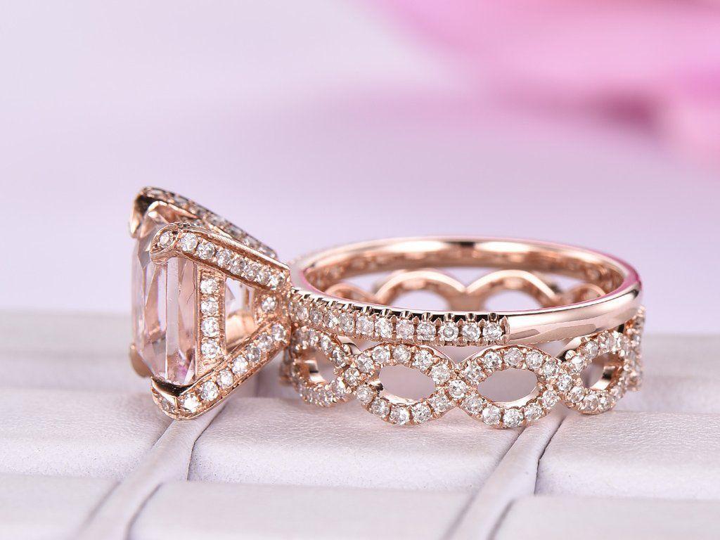 Princess Morganite Engagement Ring Sets Diamond Infinite Love Band ...