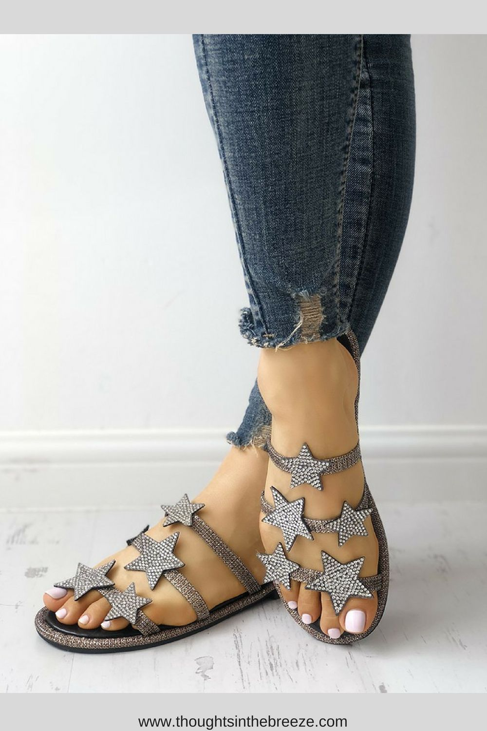 2d990e3769  24.40 Shiny Stars Embellished Multi-strap Sandals. Looking for the ...
