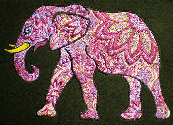 Colorful Elephant Embroidered Iron On Patch Appliqué