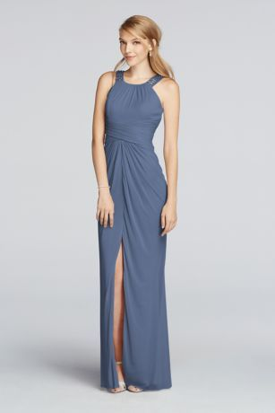 Want to make your maids shine? Choose this long mesh halter bridesmaid dress designed with delicately beaded straps, a front slit, and figure-flattering ruching at the waistline.  Polyester  Back zipper; fully lined  Dry clean  Imported  Available in Extra Length sizes as Style 4XLF17093.  To protect your dress, try our Non Woven Garment Bag.