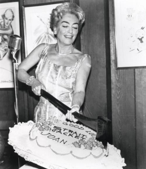 joan crawford birthday Joan Crawford at the Strait Jacket (1964) wrap party  joan crawford birthday