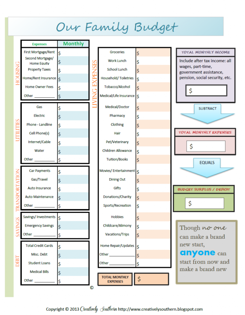 Save Money On A Budget Free Printable Budgeting Planners And Free