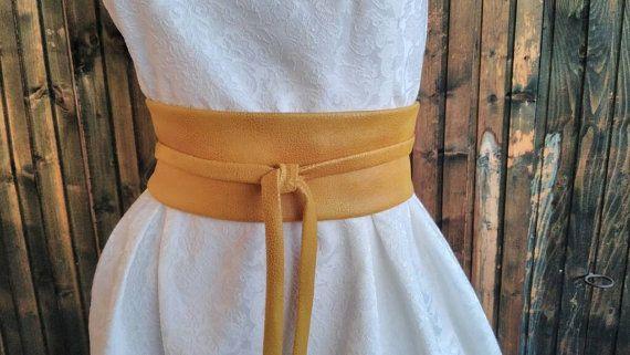 6d828e717aa Obi Belt Mustard faux suede velour Ochre belt Womens obi belt Kimono ...