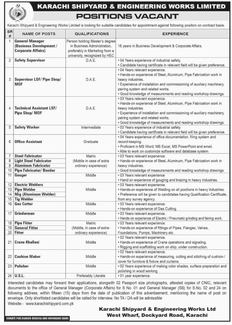 Karachi Shipyard and Engineering Works Jobs Engineering