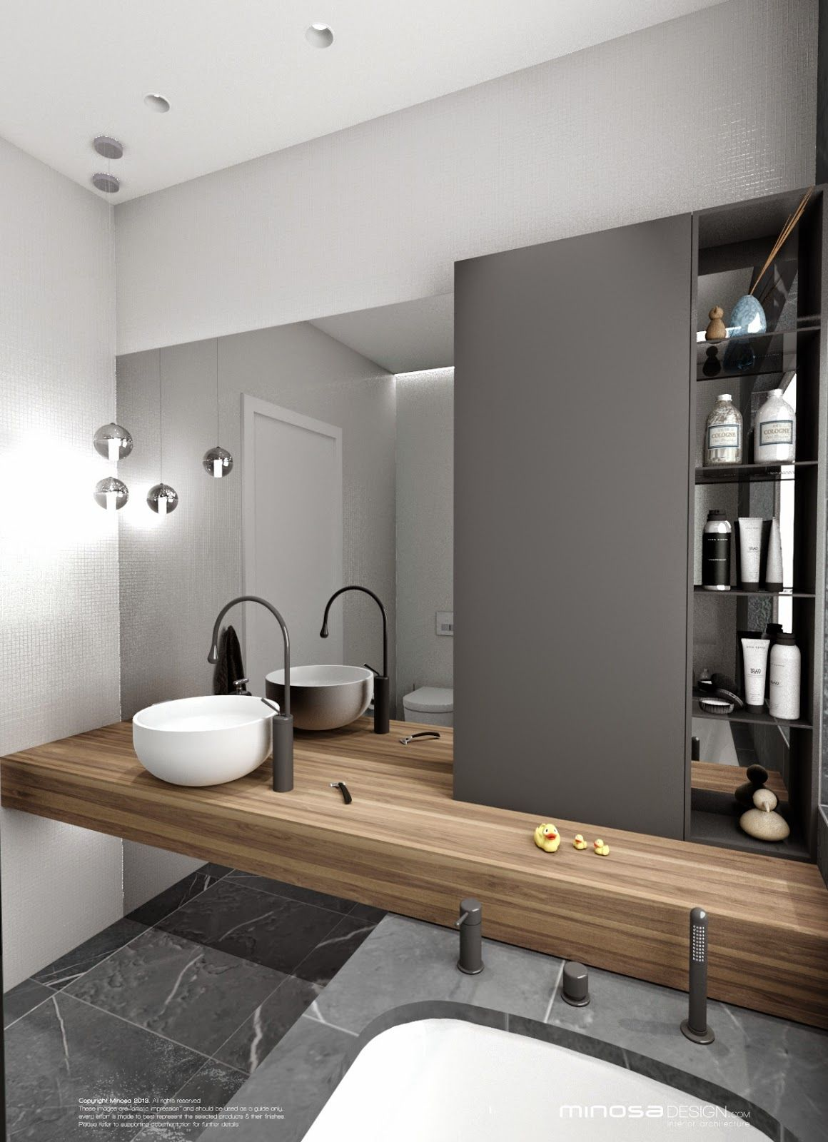 Wood Counter Grey Tile White Raised Bowl Sink Copper Fixtures Grey Cabinet Both Bathroom