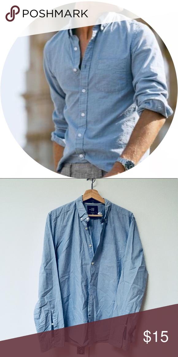 fcb38011b7 Men's Blue Button Down Shirt Baby-fine vertical stripes. Breast pocket.  Like new! H&M Shirts Casual Button Down Shirts