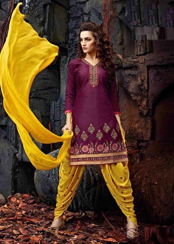Burgundy Cotton Patiala Suit - Salwar Kameez - Women | Patiyala ...