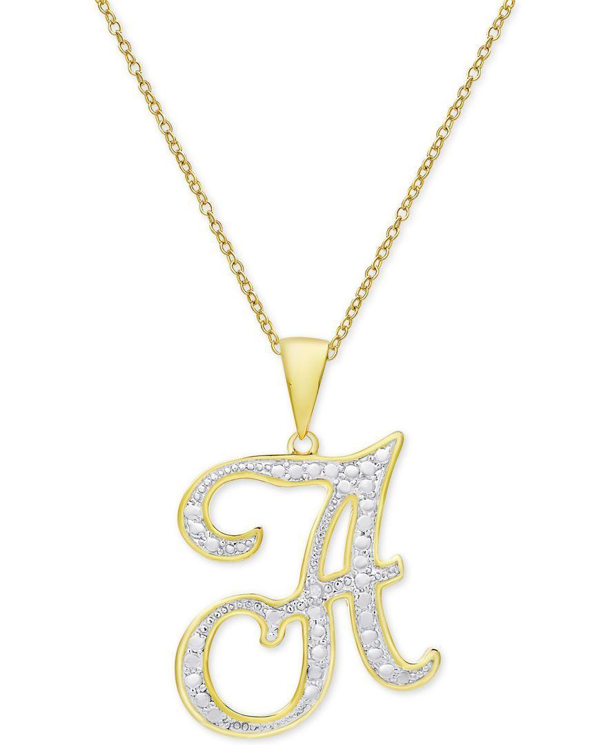 Diamond accent script initial pendant necklace in k gold plate