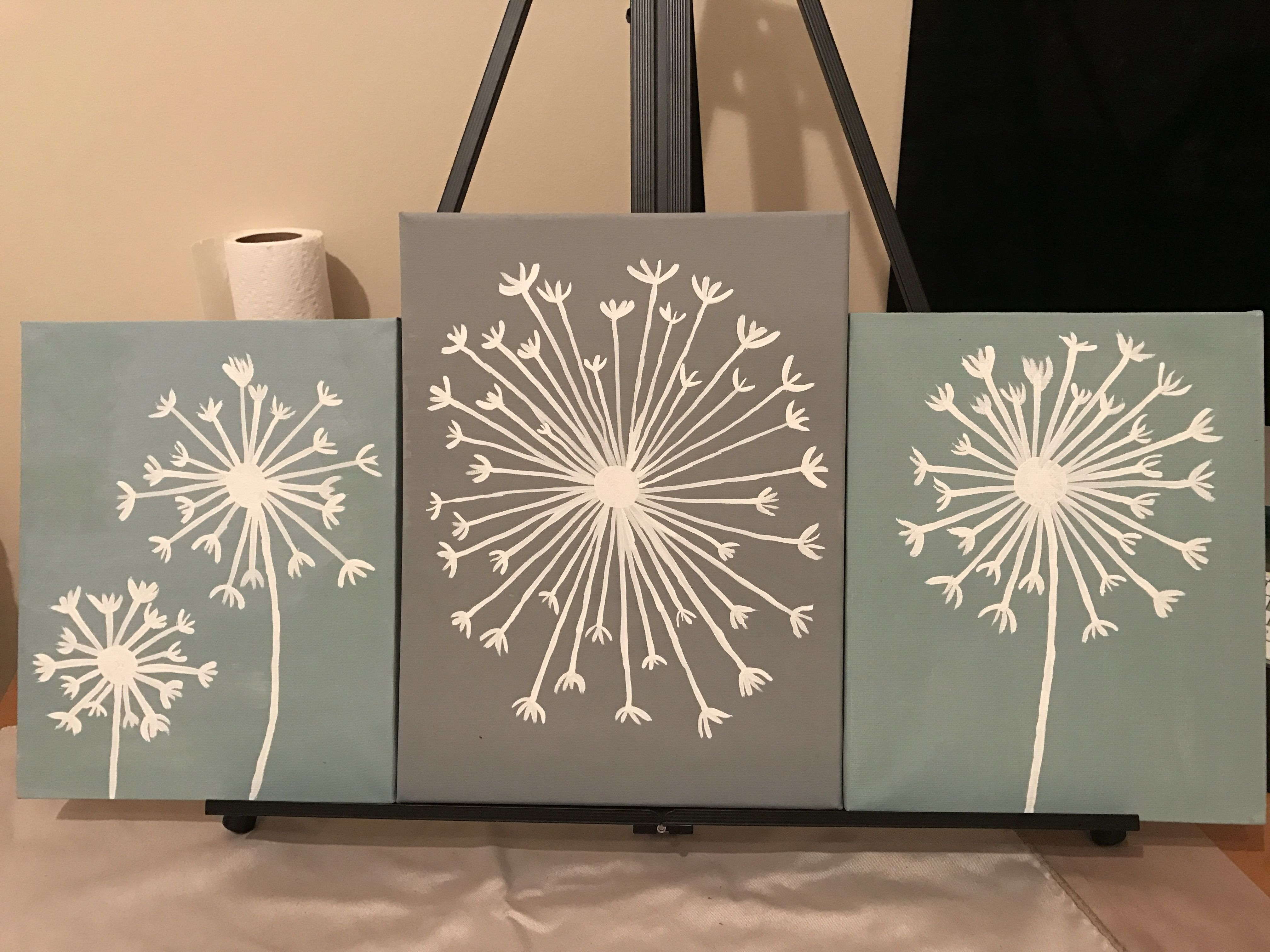 Dandelion 3x acrylic painting for my mothers bathroom simple