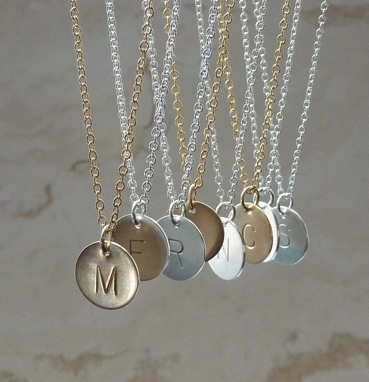 personalized gift original initial layers custom necklace pendant jewelry letter product bridesmaid gold goldfilled